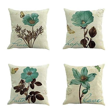 VJGOAL Vintage impresión de Flores de algodón de Lino Suave ...