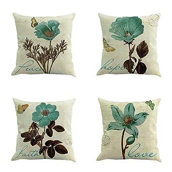 VJGOAL Vintage impresión de Flores de algodón de Lino ...