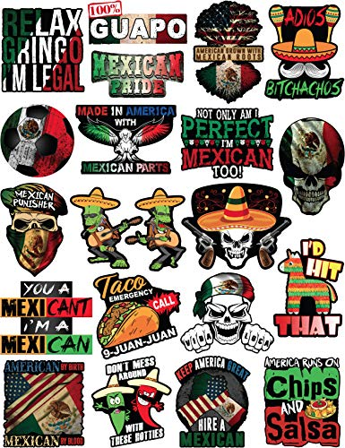 20 Mexican Stickers - Calcomanías Mexicanas - 100% Vinyl Stickers for Adults - Funny Decals for Hardhat, Construction, Laptop, Water bottle or Lunchbox. Pegatinas cascos. Calcomanias para autos (Hard Hat Stickers Construction)