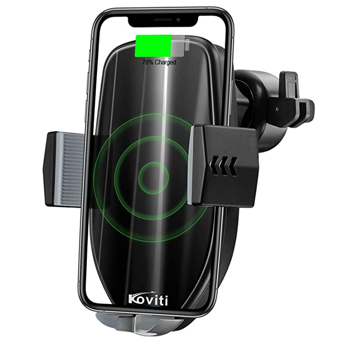 Wireless Car Charger, 2019 Newest 10W Qi Fast Charging Car Charger Mount  Phone Holder Automatic Clamping,Compatible for iPhone XS