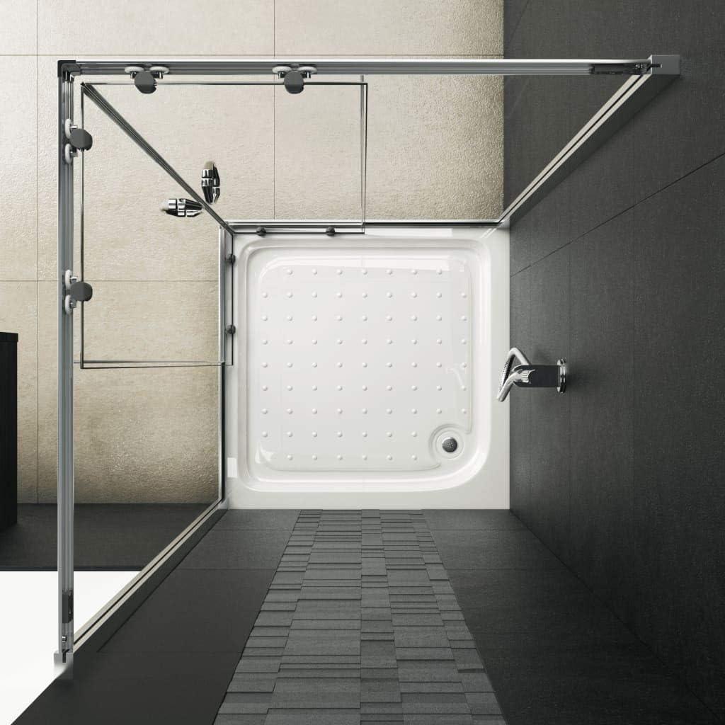 vidaXL Cabine de Douche Rectangulaire avec Porte Coulissante Salle de Bain Salle dEau Maison Int/érieur Verre de S/écurit/é 80x80x185 cm