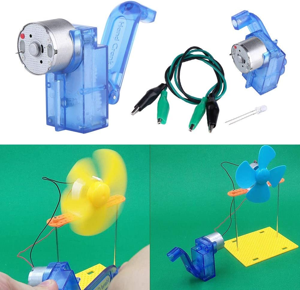 Hand Crank Generator Handheld DC Crank Generator Dynamo School Educational Generator Kits with LED Light and Clip Cords