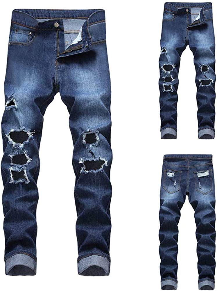 Clearance Sale PASATO Mens Casual Autumn Denim Cotton Straight Ripped Hole Trousers Jeans Pants