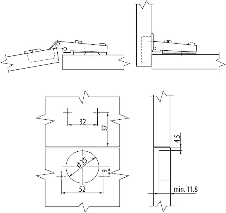 SO-TECH/® Charni/ère Invo T52 montage porte rentrante 110/° sans amorti avec plaque de montage de r/églage excantrique