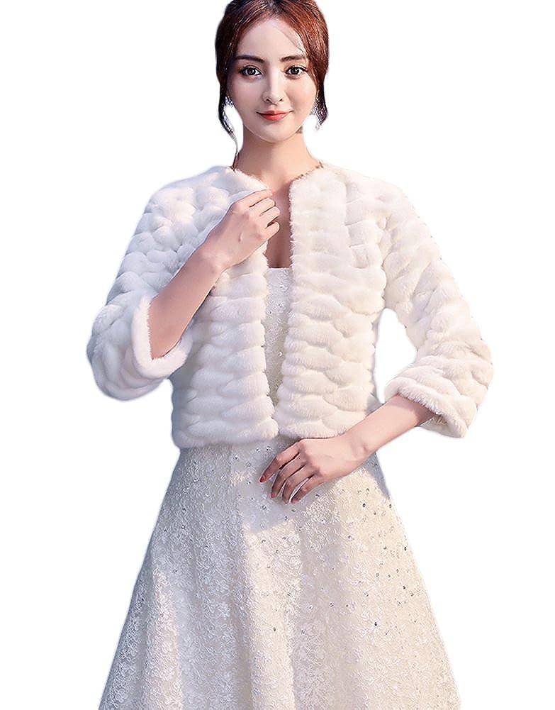 Insun Damen Kunstpelz Brautbolero Bolero Brautjacke Cape Brautstola mit /Ärmel Hochzeitsjacke Abendkleid Schal