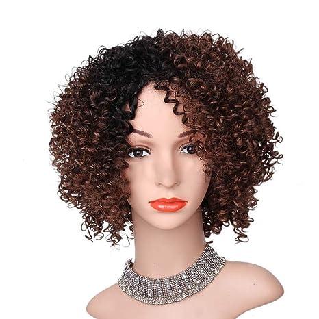 JIAXFA Pelo Corto Africano Peluca pequeña Moda Femenina Color de Degradado Punto Medio Cabeza explosiva Cosplay Completo Peluca Conjunto de Cabeza: ...