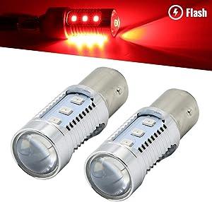 Syneticusa 1157 Red LED Stop Brake Flash Strobe Rear Alert Safety Warning 12-LED Light Bulbs