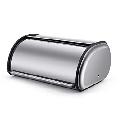 Bread Box Stainless Steel, Bread Box Holder, Metal Roll Up Top Lid Bread Container Storage, Ideal for Restaurants Home Kitchen, by Elumaxon (17.5 inch)