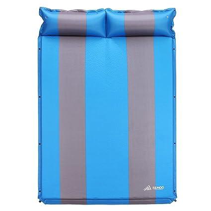 Semoo Doble autoinflable Colchón para Camping,Senderismo, Playa, Jardín, Esterillas Auto-