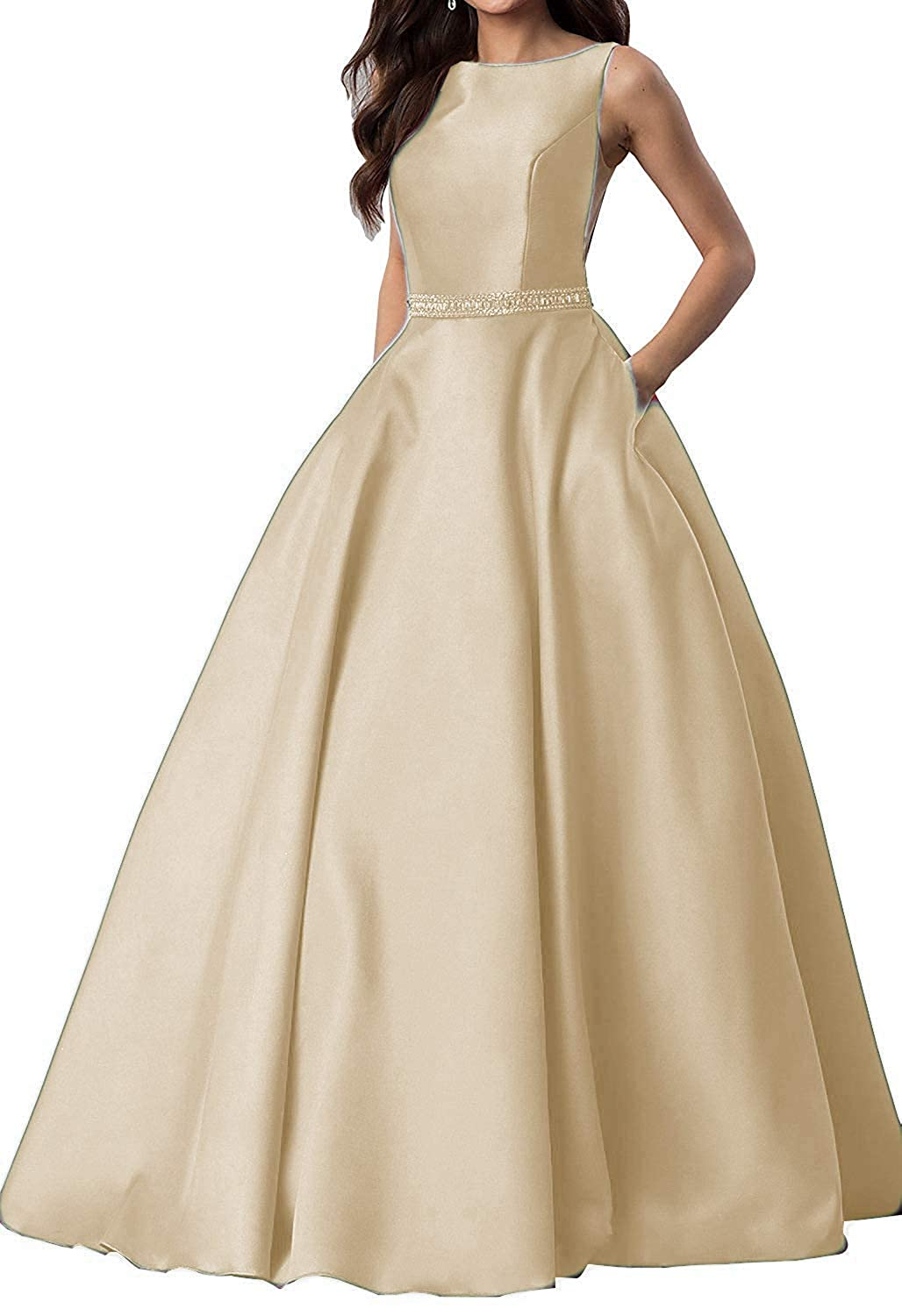 Champagne liangjinsmkj Women's Beaded Prom Dresses Long 2019 Satin Evening Party Gowns with Pockets