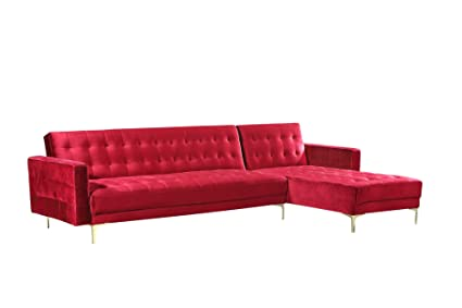 Iconic Home FSA9009-AN Amandal Convertible Sofa Sleeper Bed L Shape Chaise Tufted Velvet Upholstered Gold Tone Metal Y-Leg Modern Contemporary, Right ...