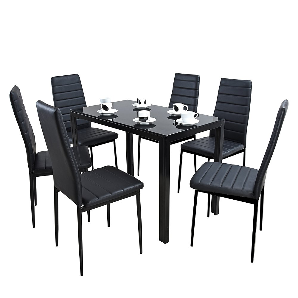 furniture-uk-shop Glass Dining Table Set With 6 Faux Leather Chair (BLCY3-140CM, Black)