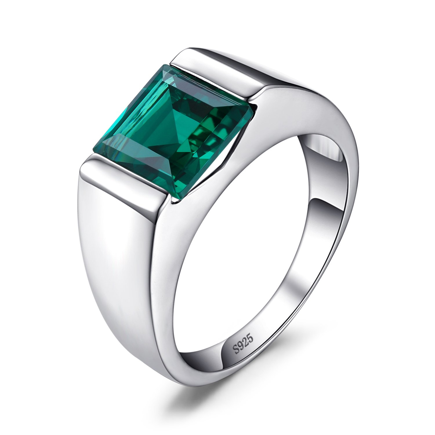 Jewelrypalace Men's Square 2.2ct Simulated Russian Nano Green Emerald Engagement Ring 925 Sterling Sliver Size 7