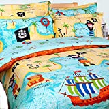 100% Cotton Kids Boys Bedding Set 4 Pieces Kids Duvet Cover with Flat Sheets, Blue Voyage/Ship Sailing Quilt/Comforter Cover Set for Toddler Children Teens Boys (Pirates of The Caribbean, Single)