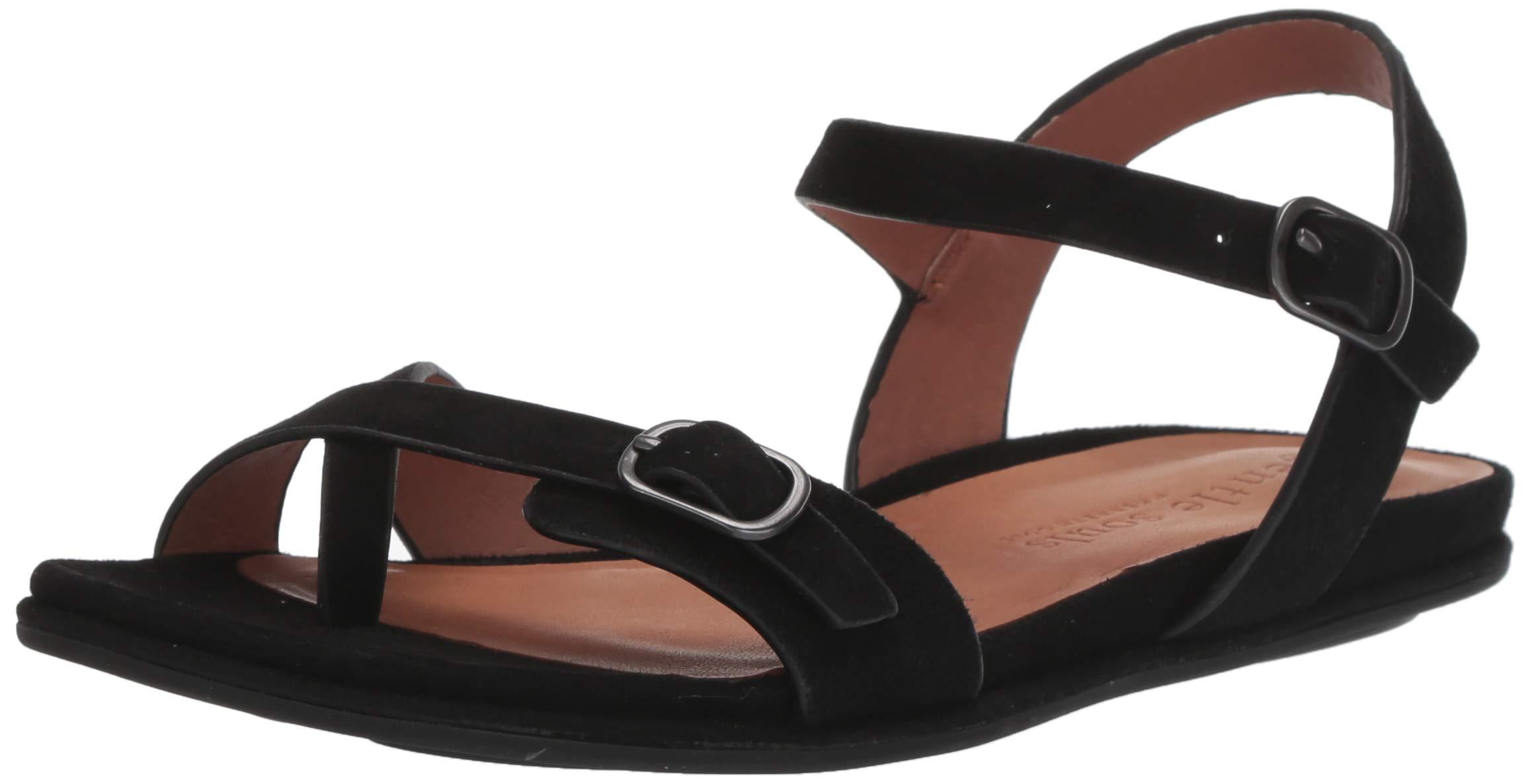 Gentle Souls Women's Lark Strappy Flat Sandal, Black, 7.5 M US by Gentle Souls