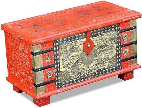 Vidaxl Vidaxl Storage Chest Coffee Table Lockable Home Decor Red Mango Wood 80x40x45 Cm Amazon Co Uk Diy Tools