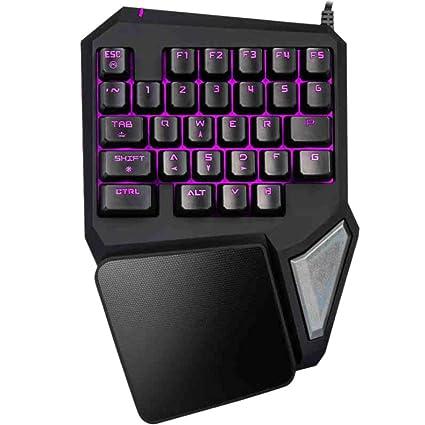SHANLY 7 Colores RGB LED Retroiluminado Juego con Una Mano Teclado Mecánico USB con Una Sola