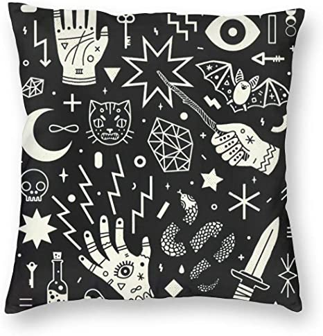 Mystic Hand /& Eye Pattern Square Pillow