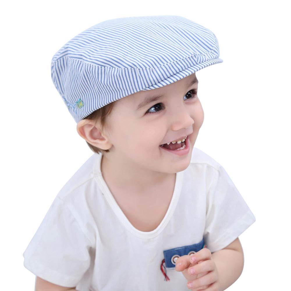 Amazon.com  HUIXIANG Baby Toddler Boy Flat Stripe Newsboy Cap Kid Beret  Driver Caps Duckbill Hat  Clothing f97e955bed6