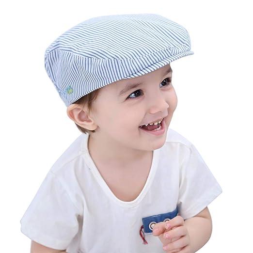 HUIXIANG Baby Toddler Boy Flat Stripe Newsboy Cap Kid Beret Driver Caps  Duckbill Hat 31e5bec4c15
