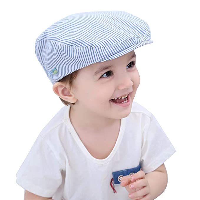 HUIXIANG Baby Boy Driver Cap Infant Toddler Flat Stripe Duckbill Cabbie Cap  Newsboy Hat 4cd8ad296a0