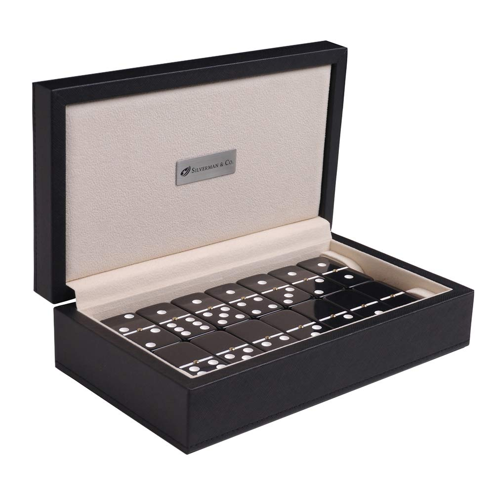 Silverman & Co. Double 6 Large Black Domino Set - Black Case
