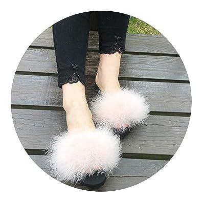 41d03a68cdf Kingwhisht Women Slippers Fur Slides Ostrich with Feathers Sweet Large Size  Sandals Beach Shoes Pantufa Flip