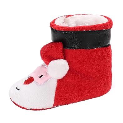 37e4f98e3feae Longra Noël Costume Enfant Noël Chaussons Enfant Chaussures Premiers Pas  Bébé Fille Garçon Bottines Chaussure de