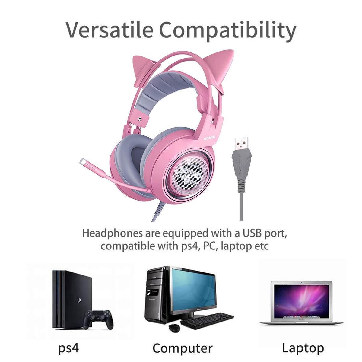SOMIC G951S Pink Gaming Headset