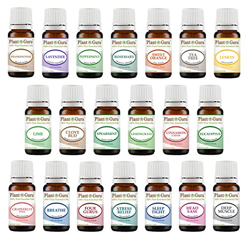 Aromatherapy Top 20 Essential Oil Set 10 ml. Pure Therapeutic Grade Kit 14 Singles - 6 Blends (10 ml.)