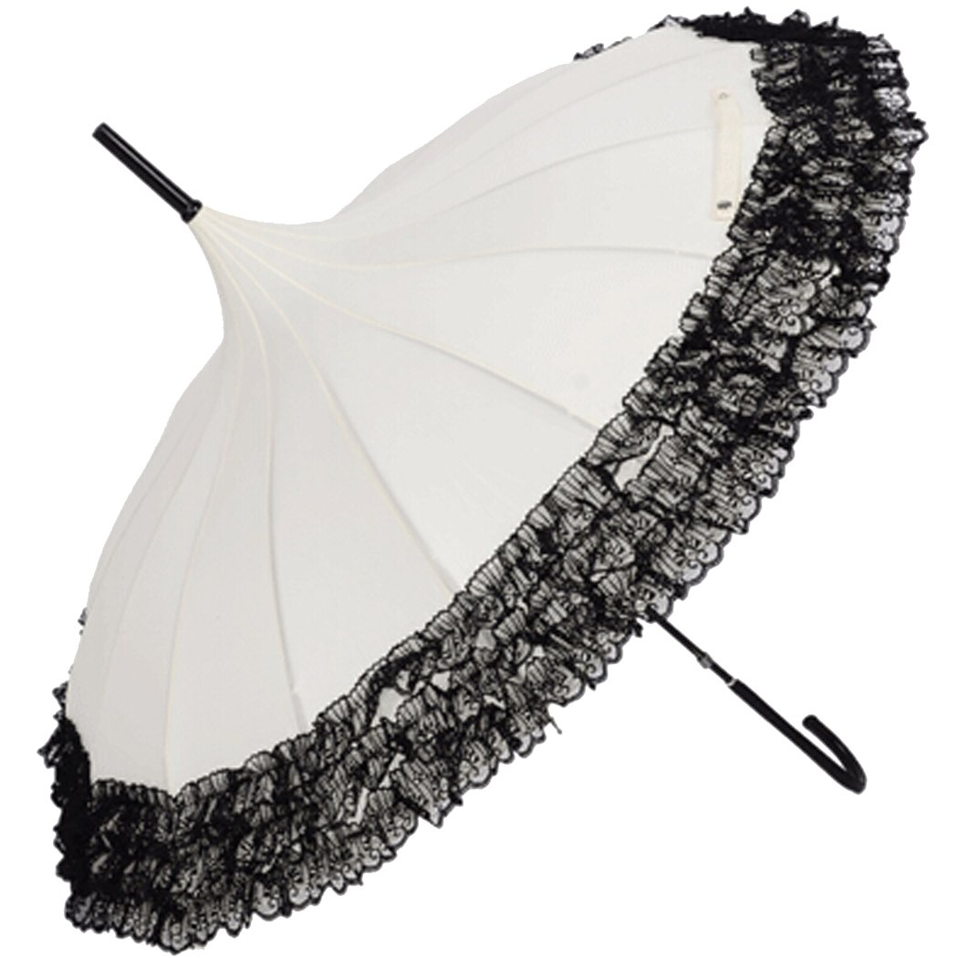 Victorian Parasols, Umbrella | Lace Parosol History Tinksky Pagoda Umbrella Anti-Uv Parasol Sunproof Lace Trim with Hook Handle                               $19.98 AT vintagedancer.com