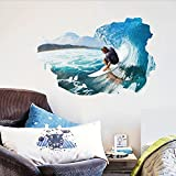 Surfing the Wall Sea Waves Wall Decal Home Sticker PVC Murals Paper House Decoration Wallpaper Living Room Bedroom Art Picture for Kids Teen Senior Adult Baby