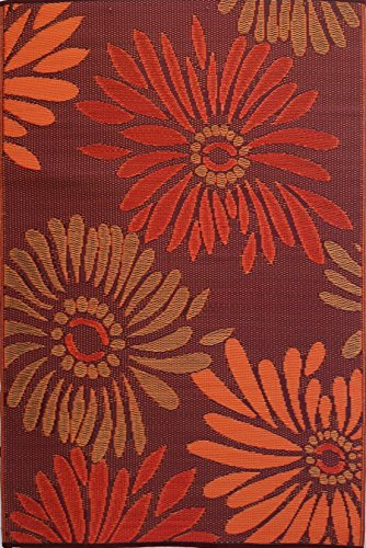 Mad Mats Daisy Indoor/Outdoor Floor Mat, 5 by 8-Feet, Rust