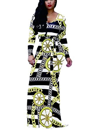 Mojessy Women s Sexy Scoop Neck Long Sleeve Gold Chain Print Long Maxi  Dresses Small Black e8dc1a8a8