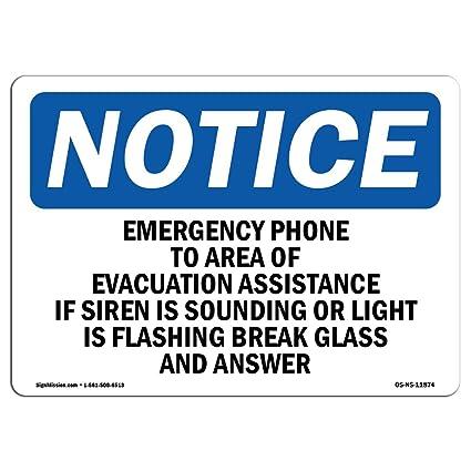 Letrero de emergencia para teléfono a zona de evacuación de ...