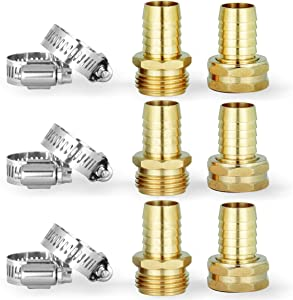 Solid Brass Garden Hose Repair Connector with Clamps,3 PCs Male +3PCs Female Hose Replacement,Fits All 3/4-Inch Garden Hose