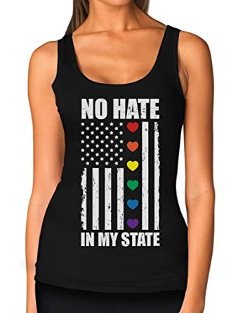 c33a270ce Amazon.com: Hearts No Hate in My State - Gay & Lesbian Pride American Flag  Women Tank Top: Clothing