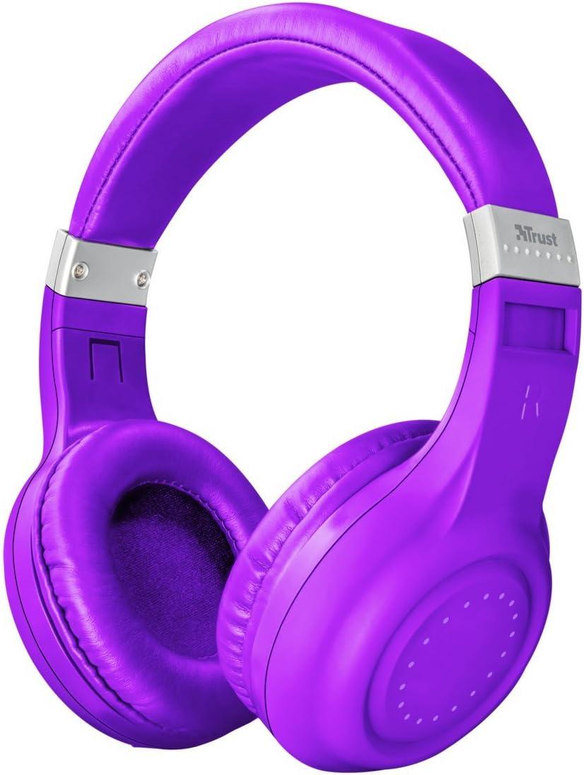 Trust Urban Dura - Auriculares inalámbricos con tecnología Bluetooth, para Llamadas telefónicas y música, Color Violeta,