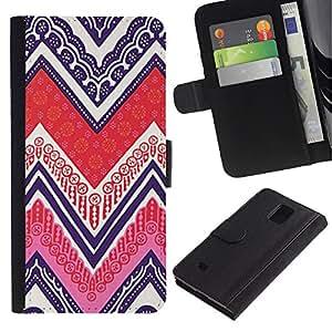 iBinBang / Flip Funda de Cuero Case Cover - Patrón Native Art Pen Poker - Samsung Galaxy Note 4 SM-N910