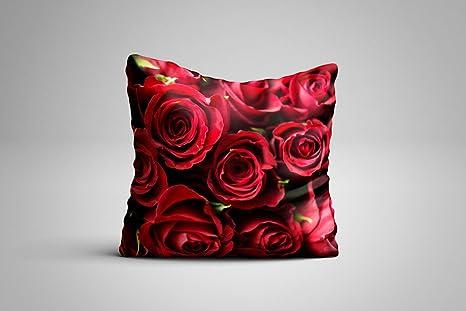 Wayshop Cojín Flores | Bonito Cojín Rosas Rojas | Decoración ...
