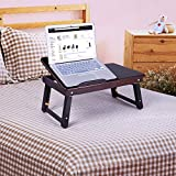 SONGMICS 100% Bamboo Adjustable Laptop Desk Foldable Breakfast Serving Bed Tray w Tilting Top and Drawer, Brown ULLD01Z
