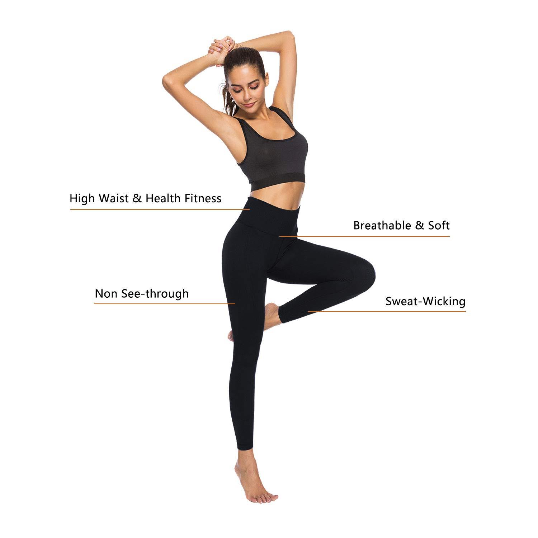 Exclusky High Waist Ultra Soft Lightweight Leggings - High Rise Yoga Pants-Black