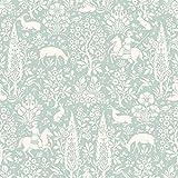 Animal Print Wallpaper Woodland Rabbits Dears Flowers Floral Birds Duc