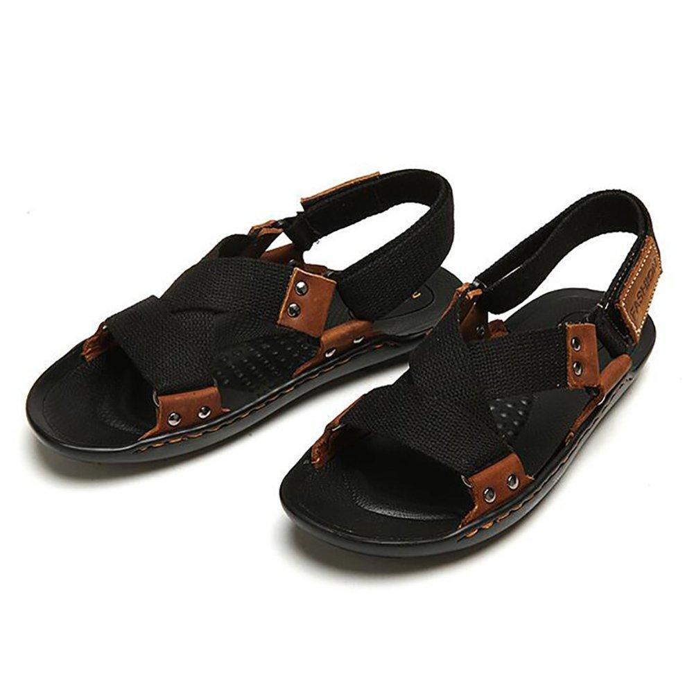 ZJM- Hombre acampar sandalias zapatos de playa cinturón tejido Summer Slipper al aire libre simple (Color : Negro, Tamaño : 41) 41 Negro
