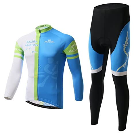 Xinzechen Unisex Polyester Cycling Jersey Long Sleeve and 3D Padded Pants  Sets Adventure Size S dcfbe532a