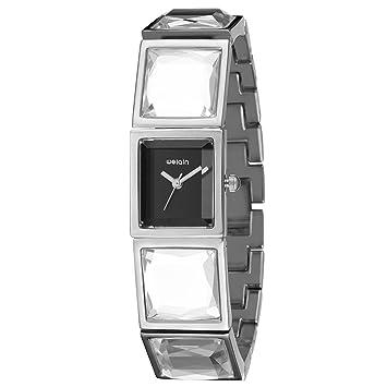 Ruiyue Reloj de Cuarzo Rectangular con Esfera de Diamantes para Mujer con Correa de Acero