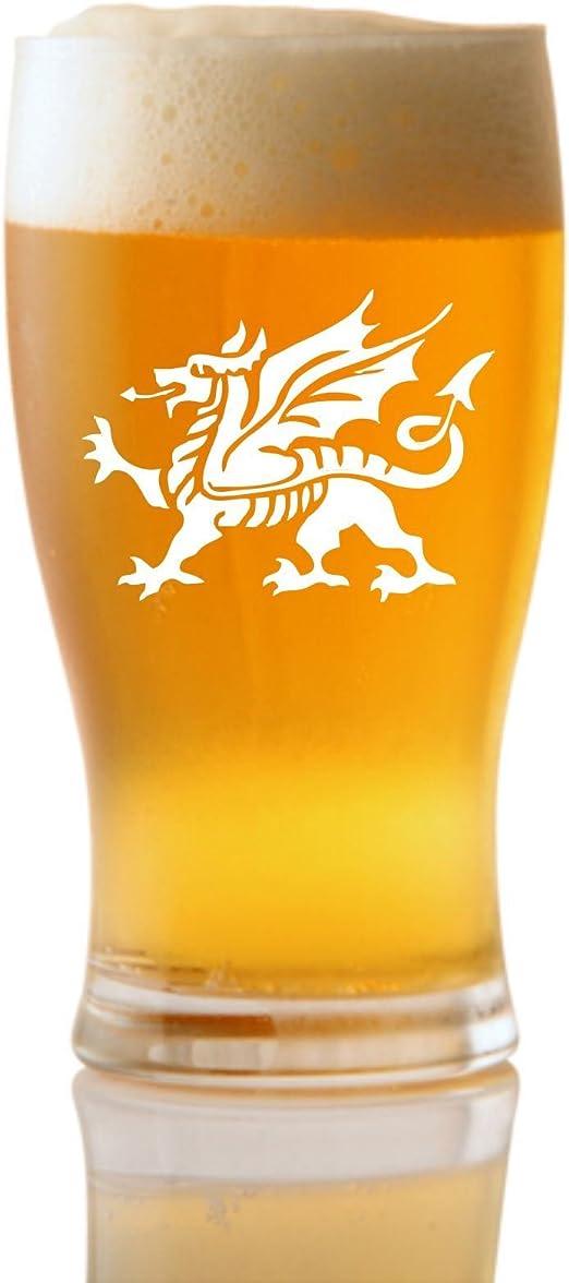 1 pinta Tulipán Cerveza De Vidrio Con Diseño Dragón Galés