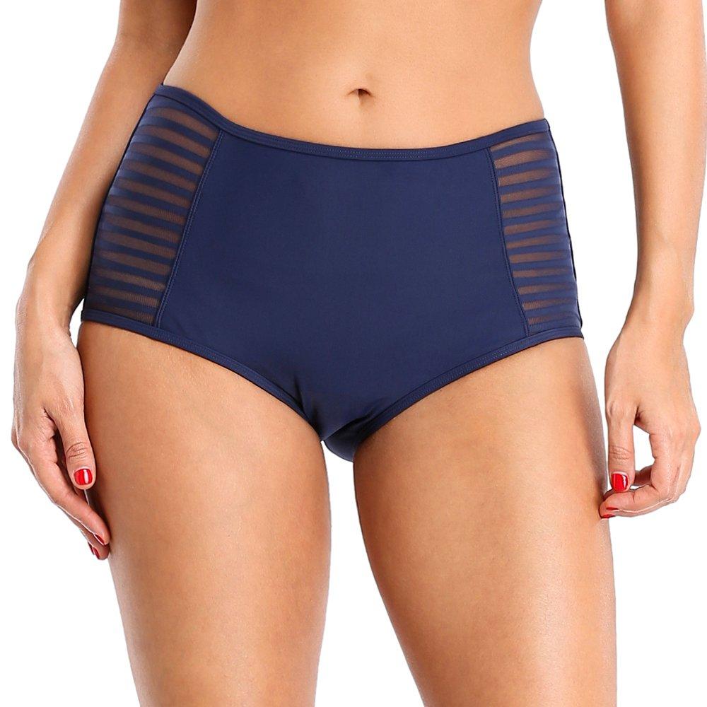 CharmLeaks Women High Waist Swim Briefs Hollow Out Vintage Swimwear Swimsuit Bottoms