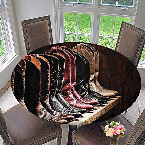 """Mikihome Premium Tablecloth Various Type of Embellished Rodeo Fancy Cowgirl Leather Boots Collection Image Brown Everyday Use 63""""-67"""" Round (Elastic Edge)"""