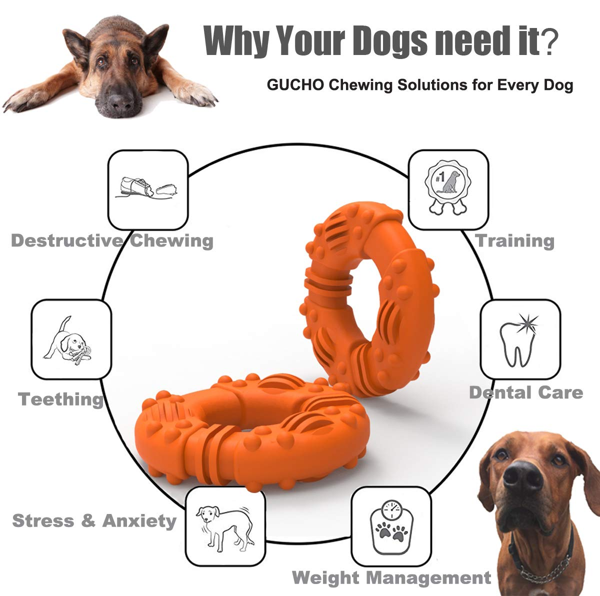 Perfect Training Teething Toys GUCHO Durable Dog Chew Toys for Aggressive Chewers Lifetime Replacement Guarantee Indestructible Dog Toys Tough Rubber Puppy Chew Toys for Medium//Large Dogs
